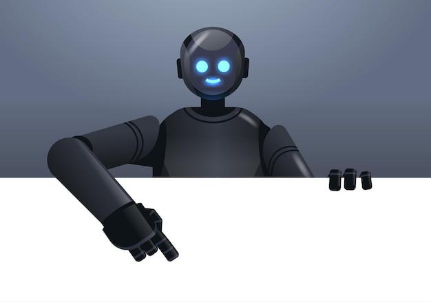 Czarny robot cyborg wskazujący na pustą pustą białą tablicę nowoczesna robotyczna postać technologia sztucznej inteligencji