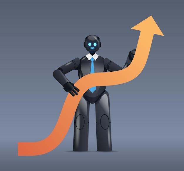 Czarny robot trzymający strzałkę w górę wzrost biznesu sukces sztuczna inteligencja