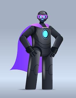 Czarny robot ubrany w płaszcz superbohatera sztuczną inteligencję