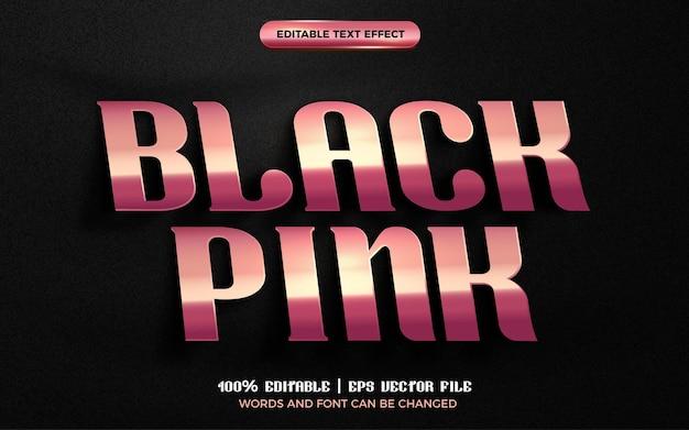Czarny różowy luksusowy talerz z różowego złota 3d edytowalny efekt tekstowy