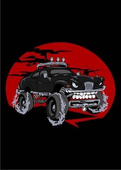 Czarny samochód potwora