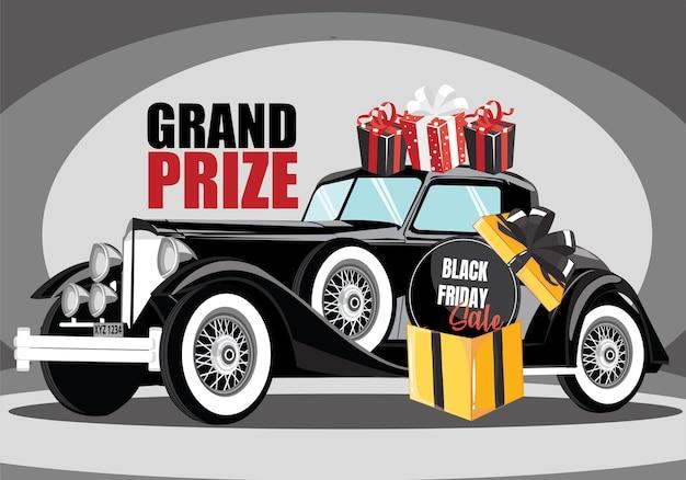 Czarny samochód retro. czarny samochód zabytkowy. koncepcja programu wyprzedaży z główną nagrodą w czarny piątek