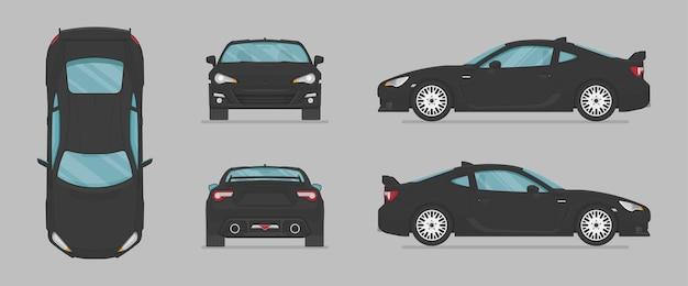 Czarny samochód z różnych stron