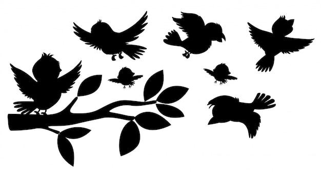 Czarny silhoutte ptaków