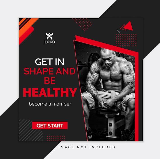 Czarny siłownia i fitness szablon mediów społecznościowych instagram post