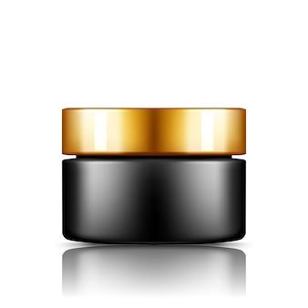 Czarny słoik kosmetyczny ze srebrną nakrętką wyizolowany z balsamu tła, kremu, proszku