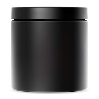 Czarny słoik. plastikowy pojemnik na krem. makieta opakowania kosmetycznego z błyszczącym wieczkiem na proszek białka serwatkowego lub suplement sportowy premium. zestaw cylindrów do witamin lub koktajli kulturystycznych