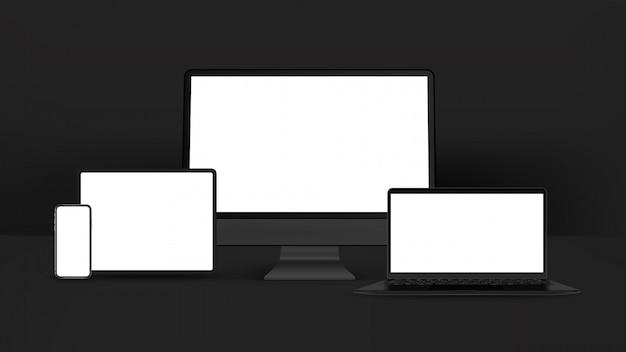Czarny smartfon, tablet, komputer osobisty, laptop na białym tle. realistyczne i szczegółowe urządzenia