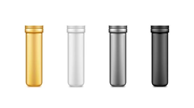 Czarny, srebrny, złoty, biały witamina lub suplement makieta plastikowego słoika na białym tle