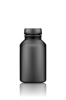 Czarny suplement lub makieta plastikowej butelki tabletek leku na białym tle
