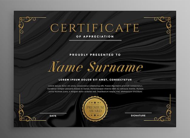 Czarny szablon certyfikatu do uniwersalnego użytku