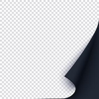 Czarny szablon strony z zawiniętym rogiem.