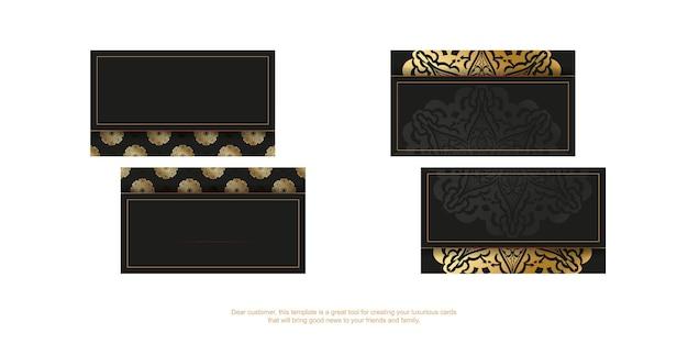 Czarny szablon wizytówki ze złotym indyjskim wzorem