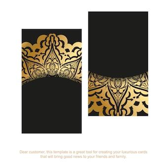 Czarny szablon wizytówki ze złotym ornamentem mandali