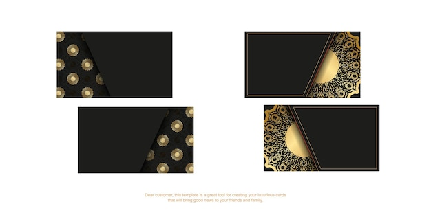 Czarny szablon wizytówki ze złotym wzorem vintage
