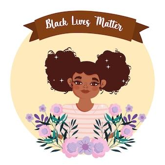 Czarny szablon życia materii z kobietą i kwiatami
