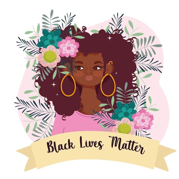 Czarny szablon życia materii z uroczą afro kobietą, kwiatami i wstążką