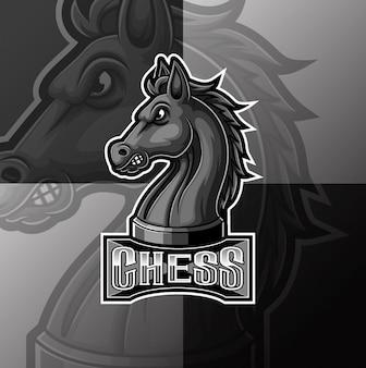 Czarny szachy rycerz koń maskotka e sport projektowanie logo
