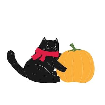Czarny szalik na halloween siedzi na dyniach ręcznie rysowane doodle ładny gruby kot na pomarańczowym warzywie