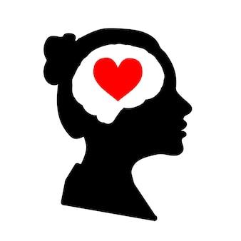Czarny szczegółowy profil twarzy kobiety z czerwonym sercem w mózgu na białym tle