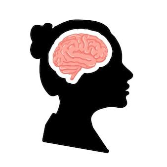 Czarny szczegółowy profil twarzy kobiety z różowym realistycznym mózgiem na białym tle