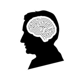 Czarny szczegółowy profil twarzy mansa z mózgiem labiryntu w głowie na białym tle