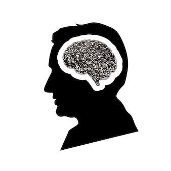 Czarny szczegółowy profil twarzy mansa z mózgiem mózgu z okrągłym niechlujnym doodle wylęgającym się w głowie, koncepcja depresji na białym tle