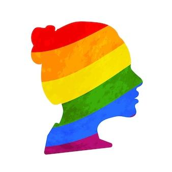 Czarny szczegółowy realistyczny profil twarzy dziewczyny z flagą dumy lgbt na białym tle