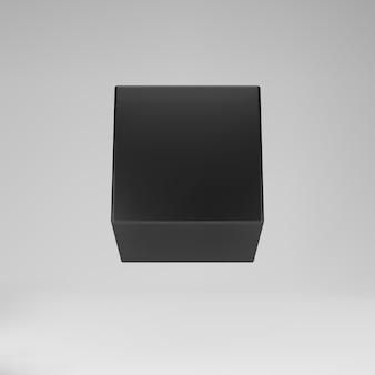 Czarny sześcian modelowania 3d z perspektywą na białym tle na szarym tle. renderuj obrotowe pudełko 3d w perspektywie z oświetleniem i cieniem. 3d podstawowy kształt geometryczny ilustracja wektorowa.