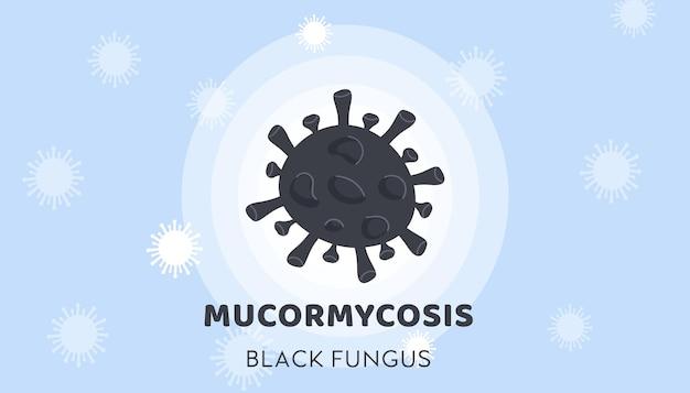 Czarny sztandar epidemii choroby mucormycosis z czarnymi bakteriami grzybowymi