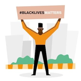 Czarny sztandar materii życia i projekt człowieka przedstawiający temat sprawiedliwości protestanckiej i rasizmu.