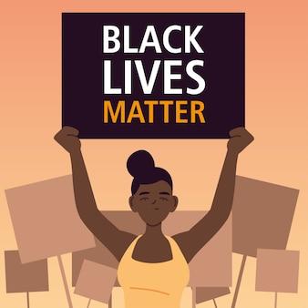 Czarny sztandar materii życia z kobietą kreskówkową ilustracją tematu sprawiedliwości protestacyjnej i rasizmu