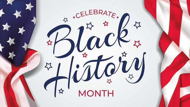 Czarny sztandar obchodów miesiąca historii z flagą usa i tekstem - stany zjednoczone ameryki
