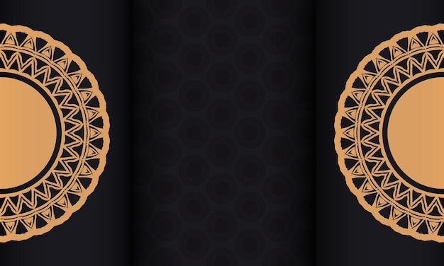 Czarny sztandar z ozdobami i miejscem na twój tekst. gotowy do druku wzór tła z abstrakcyjnymi wzorami.