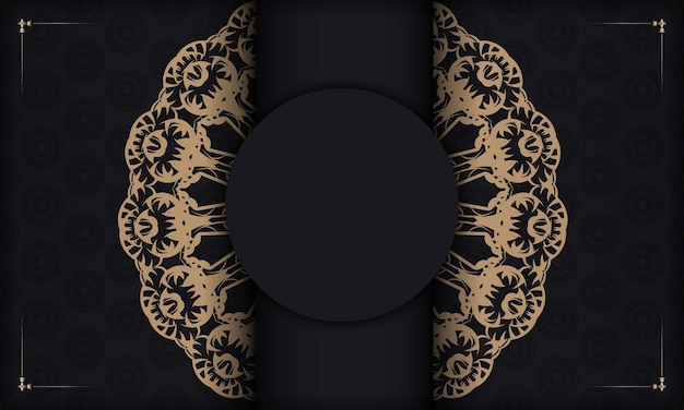 Czarny sztandar z vintage brązowym ornamentem i miejscem na tekst