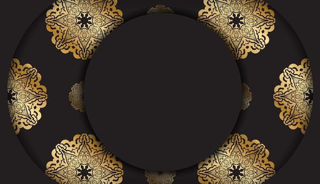 Czarny sztandar z vintage złotym wzorem i miejscem na tekst