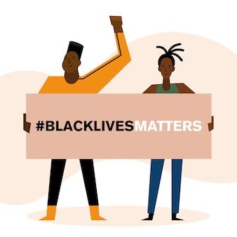 Czarny sztandar życia materii projekt mężczyzny i kobiety w temacie protestacyjnej sprawiedliwości i rasizmu.
