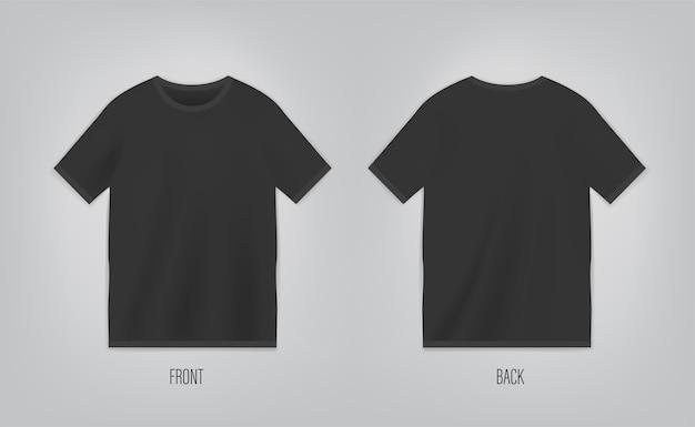 Czarny t-shirt z krótkim rękawem
