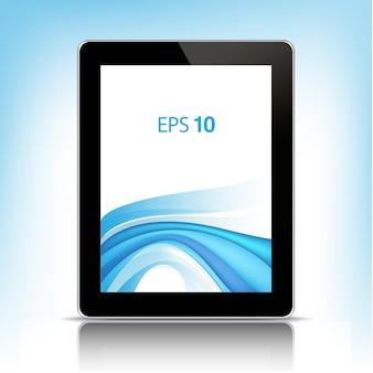 Czarny tablet pc z pustym ekranem na białym tle