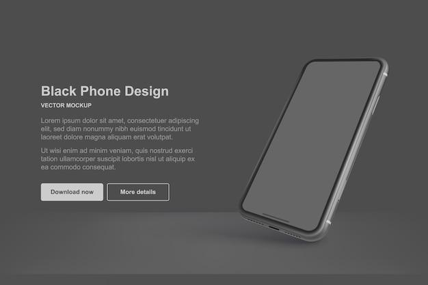 Czarny telefon na białym tle na ciemnym tle