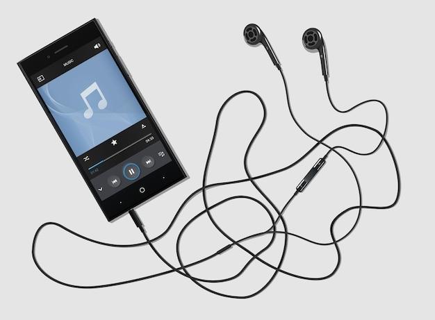 Czarny telefon z nowoczesnymi słuchawkami na jasnym tle. nowoczesny telefon na stole. zestaw słuchawkowy podłączony do telefonu. telefon muzyczny z odtwarzaczem. ilustracja