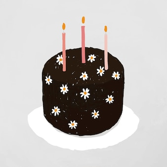 Czarny tort urodzinowy element wektor ładny ręcznie rysowane stylu
