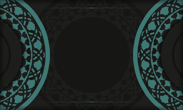 Czarny transparent szablon z greckimi niebieskimi ornamentami i miejscem na logo i tekst. szablon do druku pocztówki z abstrakcyjnymi wzorami.