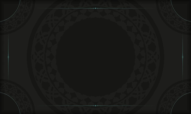 Czarny transparent szablon z greckimi ornamentami i miejscem na logo. projekt pocztówki z abstrakcyjnymi wzorami.