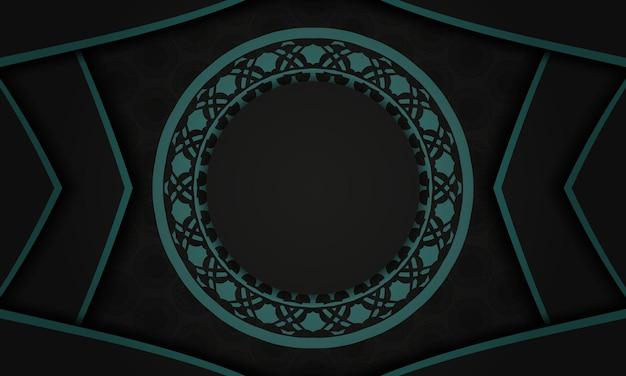 Czarny transparent wektor z greckimi niebieskimi ornamentami i miejscem na logo i tekst. szablon do druku pocztówki z abstrakcyjnym ornamentem.