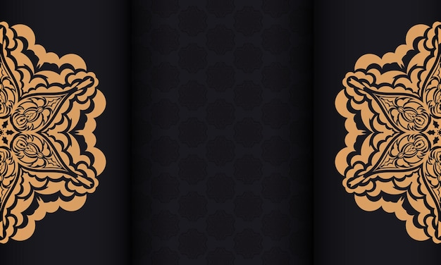 Czarny transparent wektor z luksusowymi ozdobami i miejscem na twój tekst i logo. szablon do druku pocztówki z rocznika wzorami.