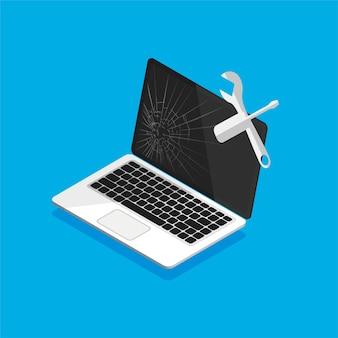 Czarny uszkodzony wyświetlacz laptopa z ikoną narzędzia pracy. naprawa komputera. koncepcja centrum usług. styl izometryczny.