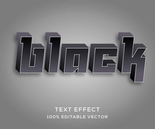 Czarny, w pełni edytowalny efekt tekstowy z modnym stylem