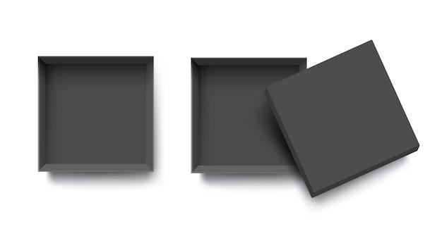 Czarny widok z góry puste otwarte pudełko dla projektu makiety