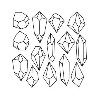 Czarny zarys kryształowy kamień szlachetny ilustracja skała clipart